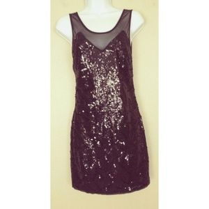 Black Sequin Bling Cocktail Party Mini Dress